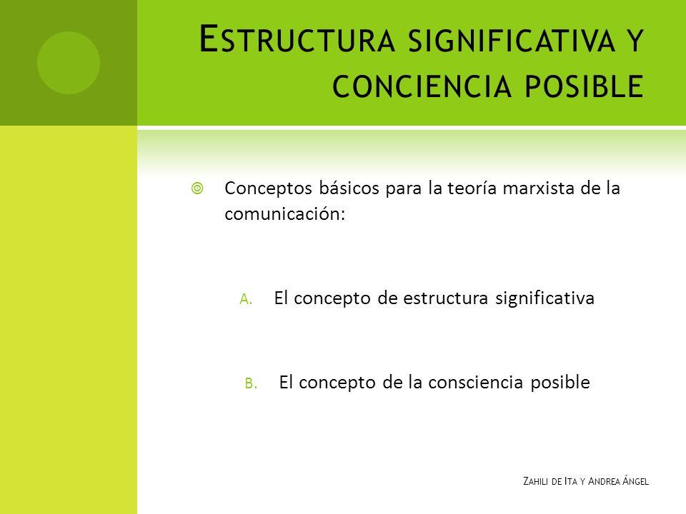 E STRUCTURA SIGNIFICATIVA Y CONCIENCIA POSIBLE Conceptos básicos para la teoría marxista de la comunicación: A. El concepto de estructura significativ