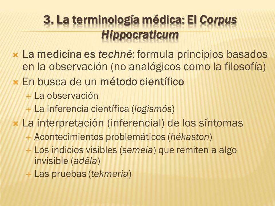 La medicina es techné: formula principios basados en la observación (no analógicos como la filosofía) En busca de un método científico La observación
