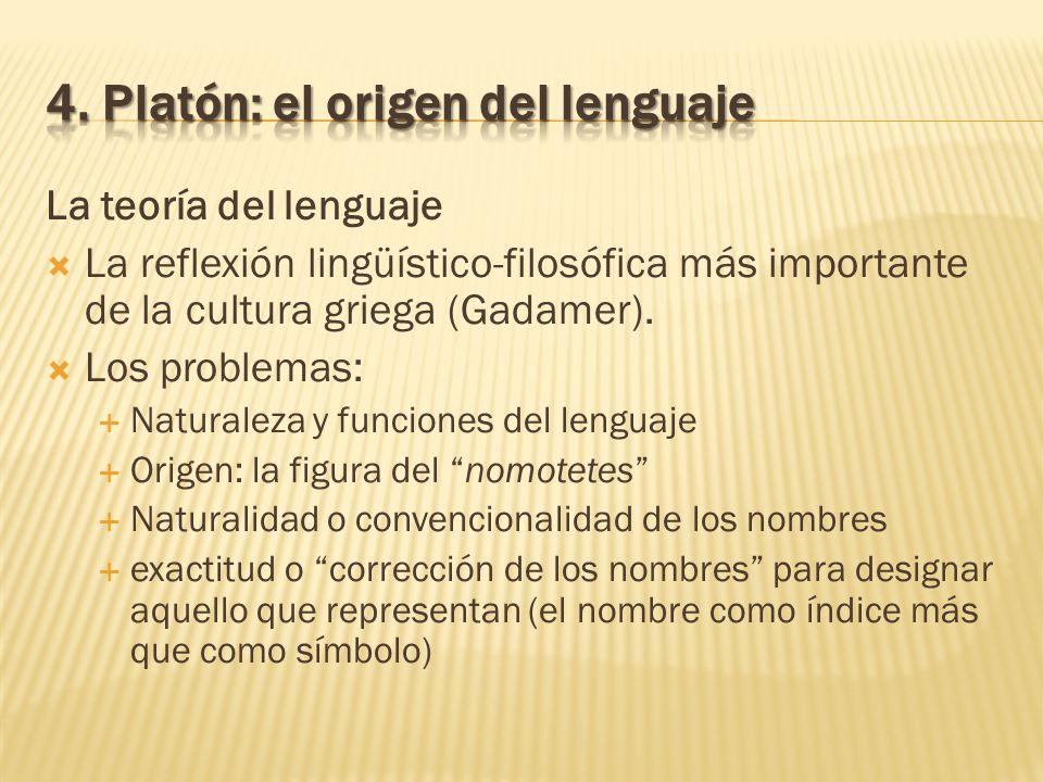 La teoría del lenguaje La reflexión lingüístico-filosófica más importante de la cultura griega (Gadamer). Los problemas: Naturaleza y funciones del le
