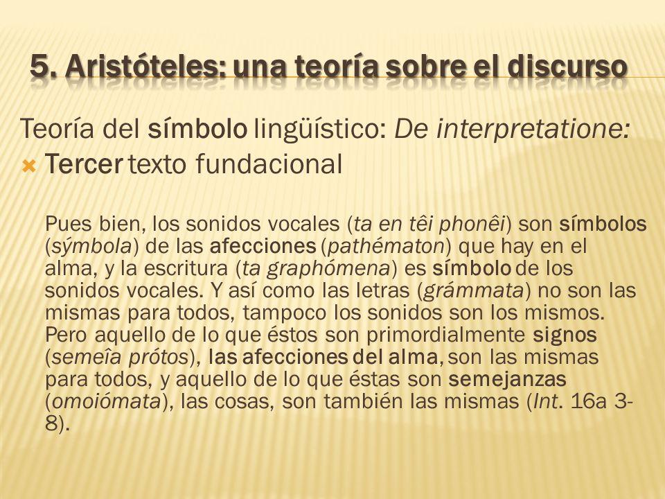 Teoría del símbolo lingüístico: De interpretatione: Tercer texto fundacional Pues bien, los sonidos vocales (ta en têi phonêi) son símbolos (sýmbola)