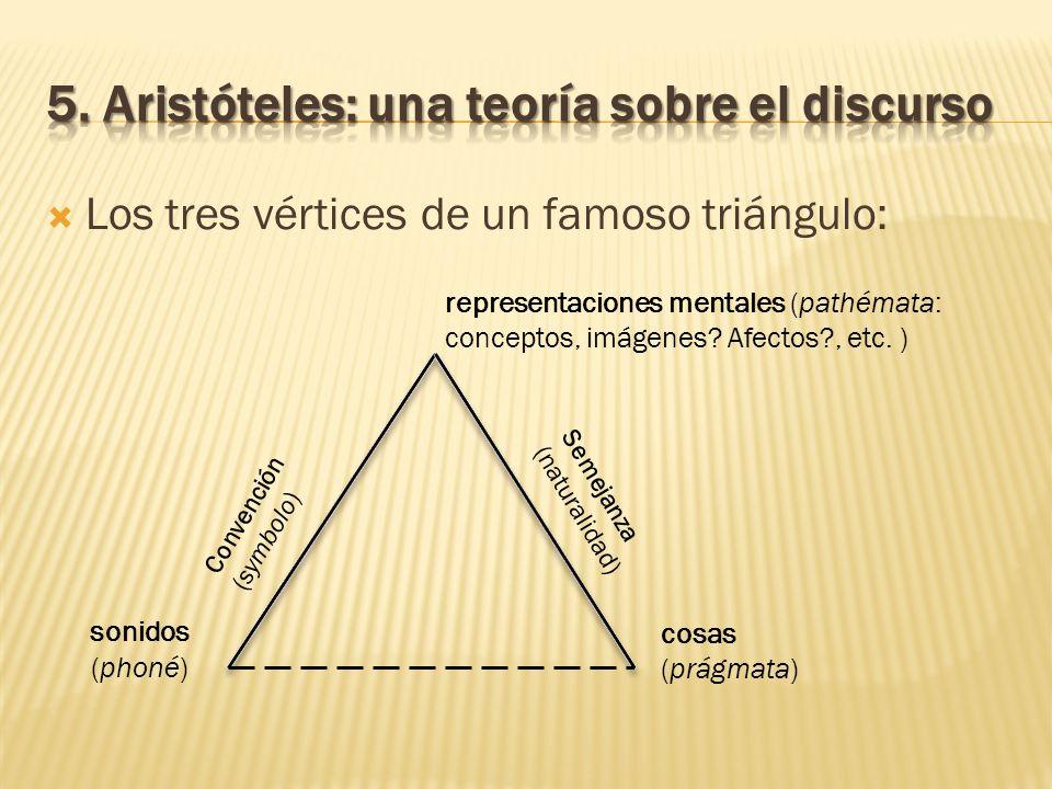 Los tres vértices de un famoso triángulo: sonidos (phoné) representaciones mentales (pathémata: conceptos, imágenes? Afectos?, etc. ) cosas (prágmata)