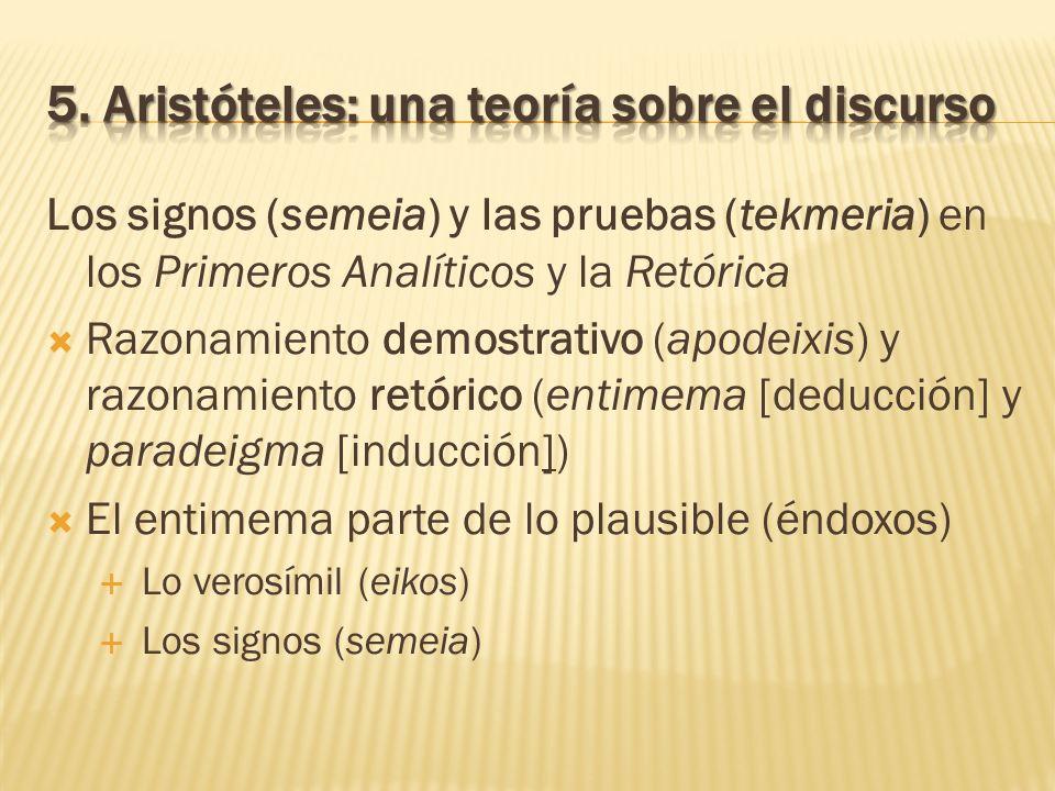 Los signos (semeia) y las pruebas (tekmeria) en los Primeros Analíticos y la Retórica Razonamiento demostrativo (apodeixis) y razonamiento retórico (e