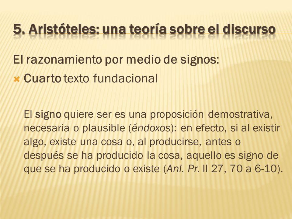 El razonamiento por medio de signos: Cuarto texto fundacional El signo quiere ser es una proposición demostrativa, necesaria o plausible (éndoxos): en