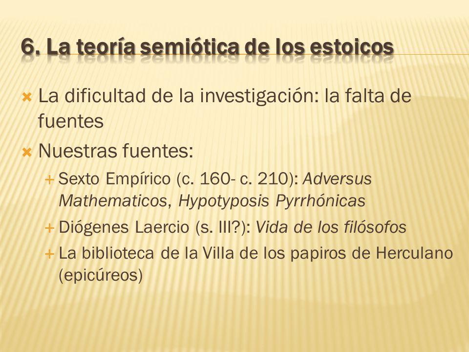 La dificultad de la investigación: la falta de fuentes Nuestras fuentes: Sexto Empírico (c. 160- c. 210): Adversus Mathematicos, Hypotyposis Pyrrhónic