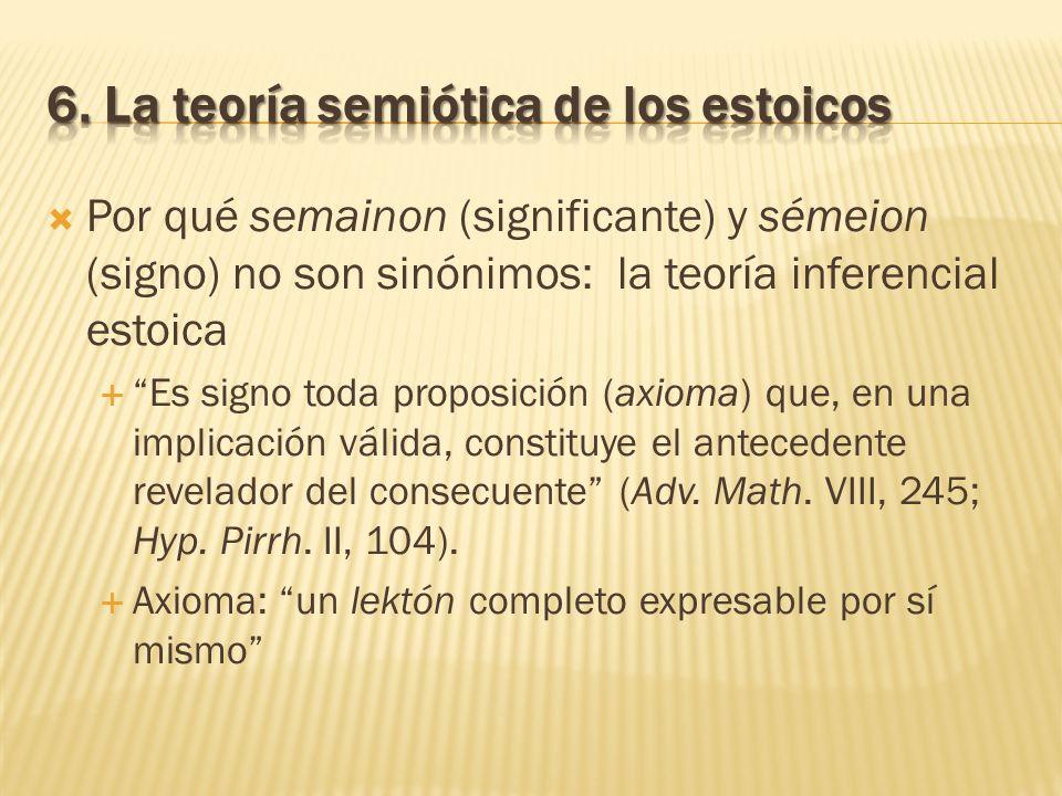 Por qué semainon (significante) y sémeion (signo) no son sinónimos: la teoría inferencial estoica Es signo toda proposición (axioma) que, en una impli