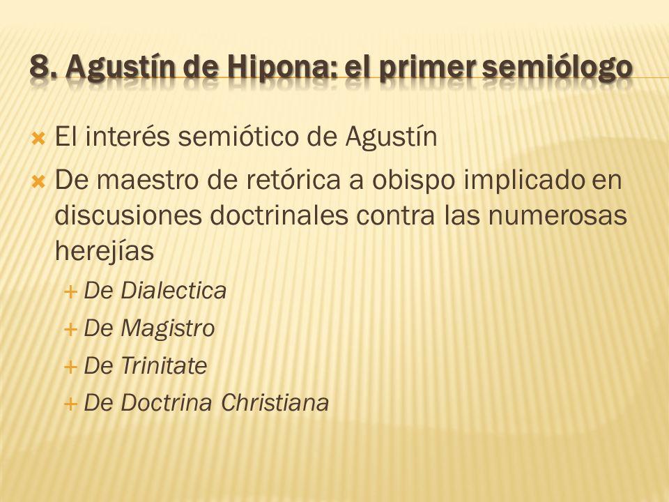 El interés semiótico de Agustín De maestro de retórica a obispo implicado en discusiones doctrinales contra las numerosas herejías De Dialectica De Ma