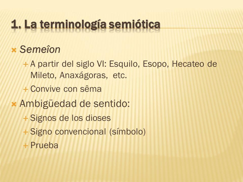 Semeîon A partir del siglo VI: Esquilo, Esopo, Hecateo de Mileto, Anaxágoras, etc. Convive con sêma Ambigüedad de sentido: Signos de los dioses Signo