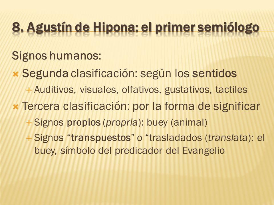 Signos humanos: Segunda clasificación: según los sentidos Auditivos, visuales, olfativos, gustativos, tactiles Tercera clasificación: por la forma de