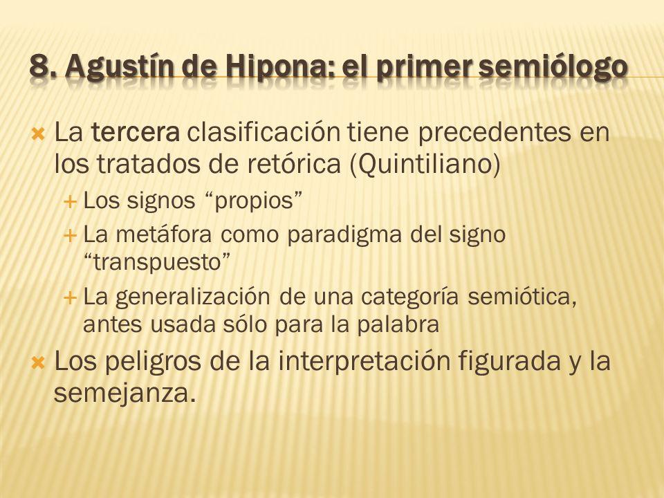 La tercera clasificación tiene precedentes en los tratados de retórica (Quintiliano) Los signos propios La metáfora como paradigma del signo transpues