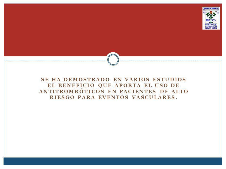 SE HA DEMOSTRADO EN VARIOS ESTUDIOS EL BENEFICIO QUE APORTA EL USO DE ANTITROMBÓTICOS EN PACIENTES DE ALTO RIESGO PARA EVENTOS VASCULARES.