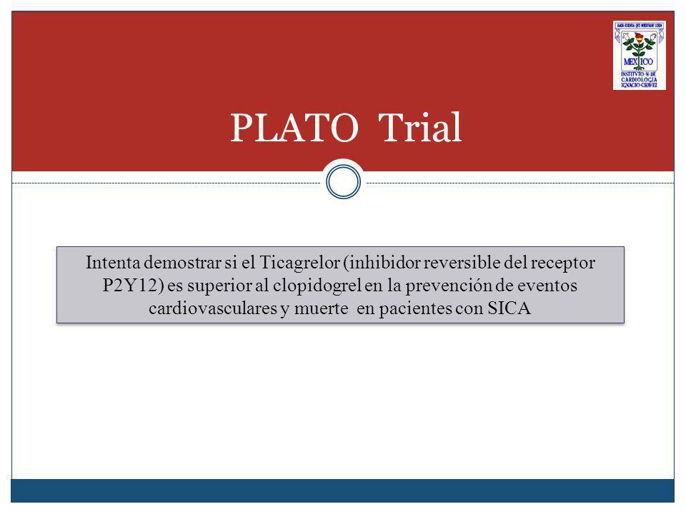 PLATO Trial Intenta demostrar si el Ticagrelor (inhibidor reversible del receptor P2Y12) es superior al clopidogrel en la prevención de eventos cardiovasculares y muerte en pacientes con SICA