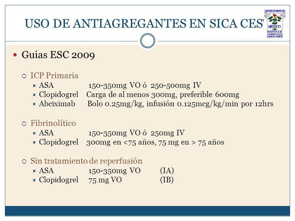 USO DE ANTIAGREGANTES EN SICA CEST Guias ESC 2009 ICP Primaria ASA 150-350mg VO ó 250-500mg IV Clopidogrel Carga de al menos 300mg, preferible 600mg Abciximab Bolo 0.25mg/kg, infusión 0.125mcg/kg/min por 12hrs Fibrinolítico ASA 150-350mg VO ó 250mg IV Clopidogrel 300mg en 75 años Sin tratamiento de reperfusión ASA 150-350mg VO(IA) Clopidogrel 75 mg VO(IB)