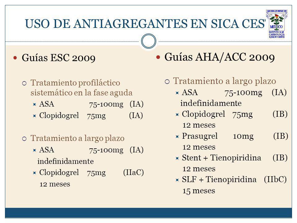 USO DE ANTIAGREGANTES EN SICA CEST Guías ESC 2009 Tratamiento profiláctico sistemático en la fase aguda ASA 75-100mg (IA) Clopidogrel 75mg (IA) Tratamiento a largo plazo ASA 75-100mg (IA) indefinidamente Clopidogrel 75mg (IIaC) 12 meses Guías AHA/ACC 2009 Tratamiento a largo plazo ASA 75-100mg (IA) indefinidamente Clopidogrel 75mg (IB) 12 meses Prasugrel 10mg (IB) 12 meses Stent + Tienopiridina (IB) 12 meses SLF + Tienopiridina (IIbC) 15 meses