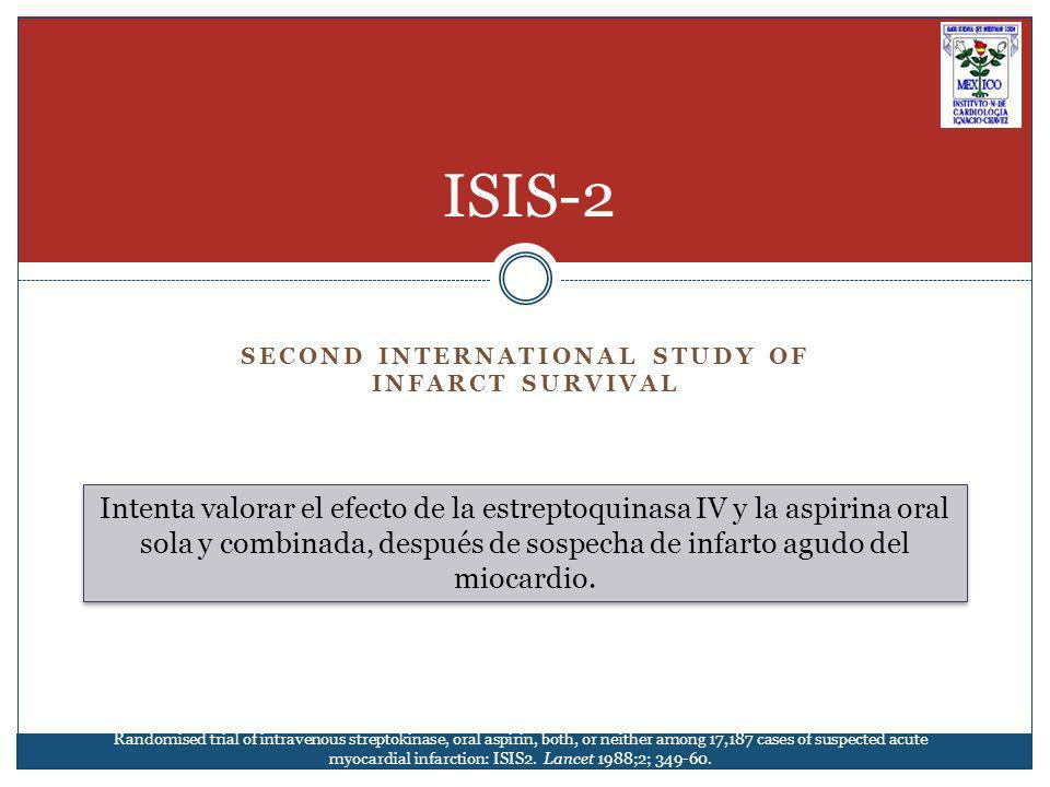 The ISIS-2 (Second International Study of Infarct Survival) 17,187 pacientes con sospecha de IAM que se presentaron en las primeras 24 hrs del inicio de los síntomas (media de 5 hrs) Objetivos primarios: Mortalidad por cualquier causa Seguimiento: 15 meses Los pacientes fueron aleatorizados a 1 de los siguientes 4 GRUPOS: 1.