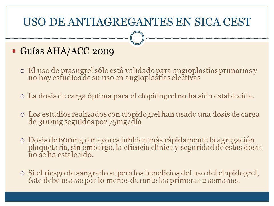 USO DE ANTIAGREGANTES EN SICA CEST Guías AHA/ACC 2009 El uso de prasugrel sólo está validado para angioplastías primarias y no hay estudios de su uso en angioplastías electivas La dosis de carga óptima para el clopidogrel no ha sido establecida.
