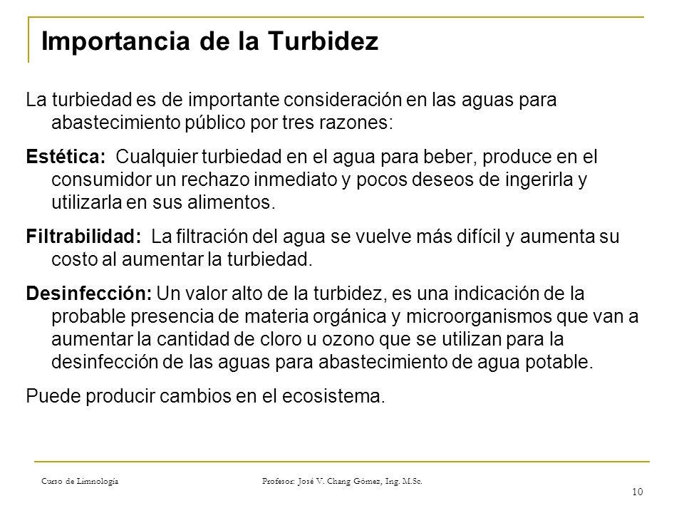 Curso de Limnología Profesor: José V. Chang Gómez, Ing. M.Sc. 10 Importancia de la Turbidez La turbiedad es de importante consideración en las aguas p