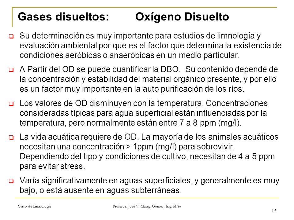 Curso de Limnología Profesor: José V. Chang Gómez, Ing. M.Sc. 15 Gases disueltos: Oxígeno Disuelto Su determinación es muy importante para estudios de