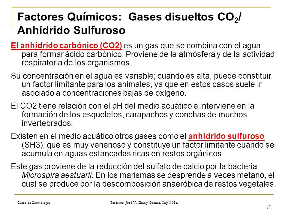 Curso de Limnología Profesor: José V. Chang Gómez, Ing. M.Sc. 17 Factores Químicos: Gases disueltos CO 2 / Anhídrido Sulfuroso El anhídrido carbónico