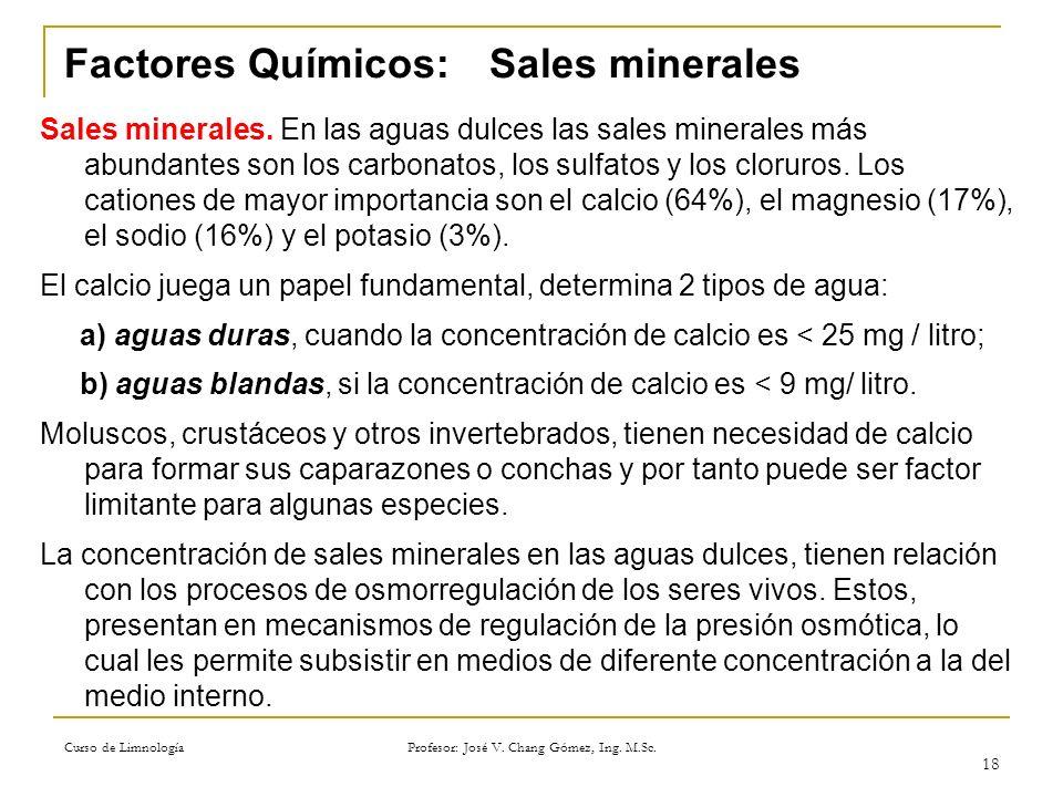 Curso de Limnología Profesor: José V. Chang Gómez, Ing. M.Sc. 18 Factores Químicos:Sales minerales Sales minerales. En las aguas dulces las sales mine
