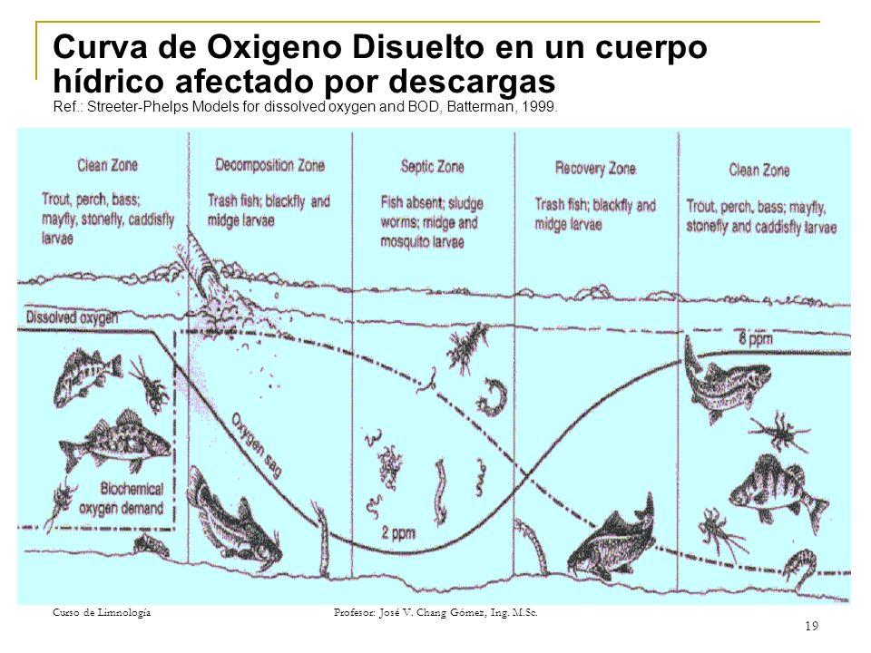 Curso de Limnología Profesor: José V. Chang Gómez, Ing. M.Sc. 19 Curva de Oxigeno Disuelto en un cuerpo hídrico afectado por descargas Ref.: Streeter-