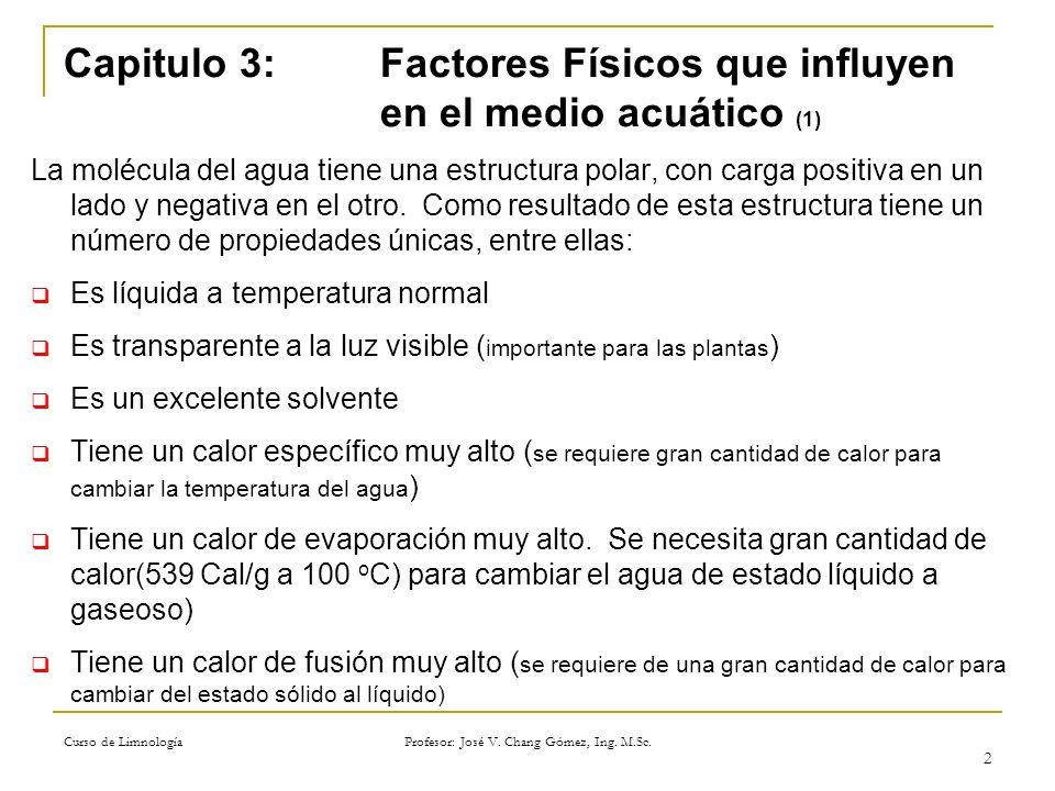 Curso de Limnología Profesor: José V. Chang Gómez, Ing. M.Sc. 2 Capitulo 3: Factores Físicos que influyen en el medio acuático (1) La molécula del agu