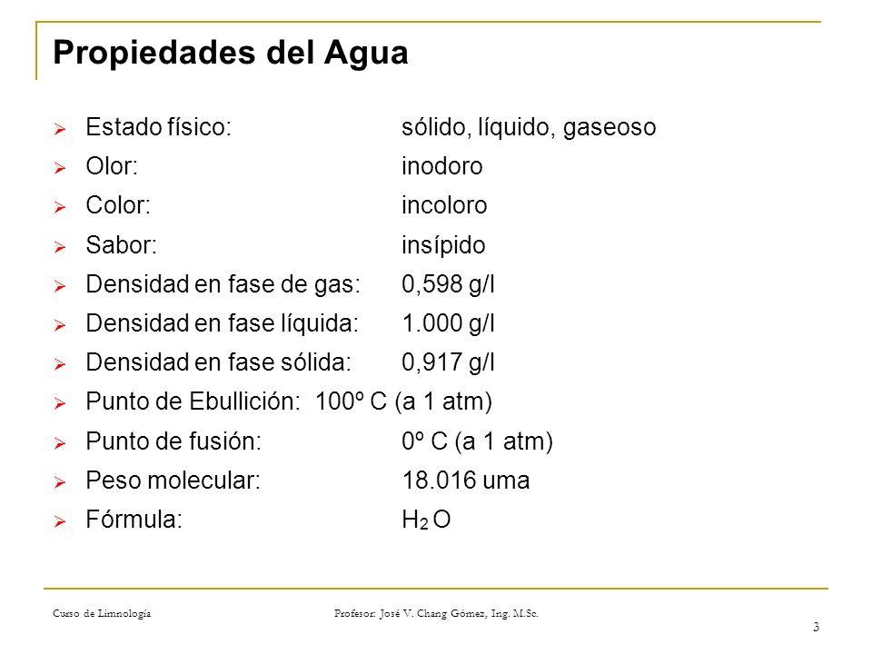 Curso de Limnología Profesor: José V. Chang Gómez, Ing. M.Sc. 3 Propiedades del Agua Estado físico:sólido, líquido, gaseoso Olor:inodoro Color:incolor