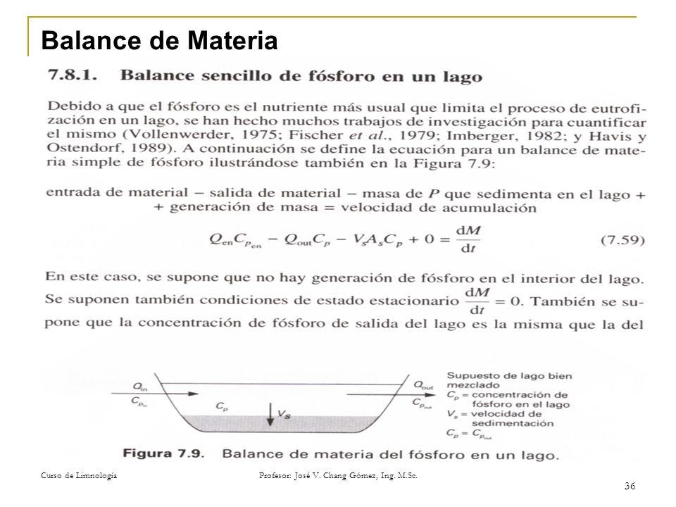 Curso de Limnología Profesor: José V. Chang Gómez, Ing. M.Sc. 36 Balance de Materia