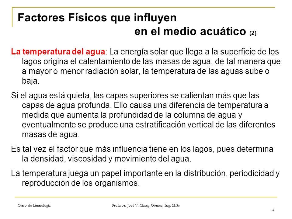 Curso de Limnología Profesor: José V. Chang Gómez, Ing. M.Sc. 4 Factores Físicos que influyen en el medio acuático (2) La temperatura del agua: La ene