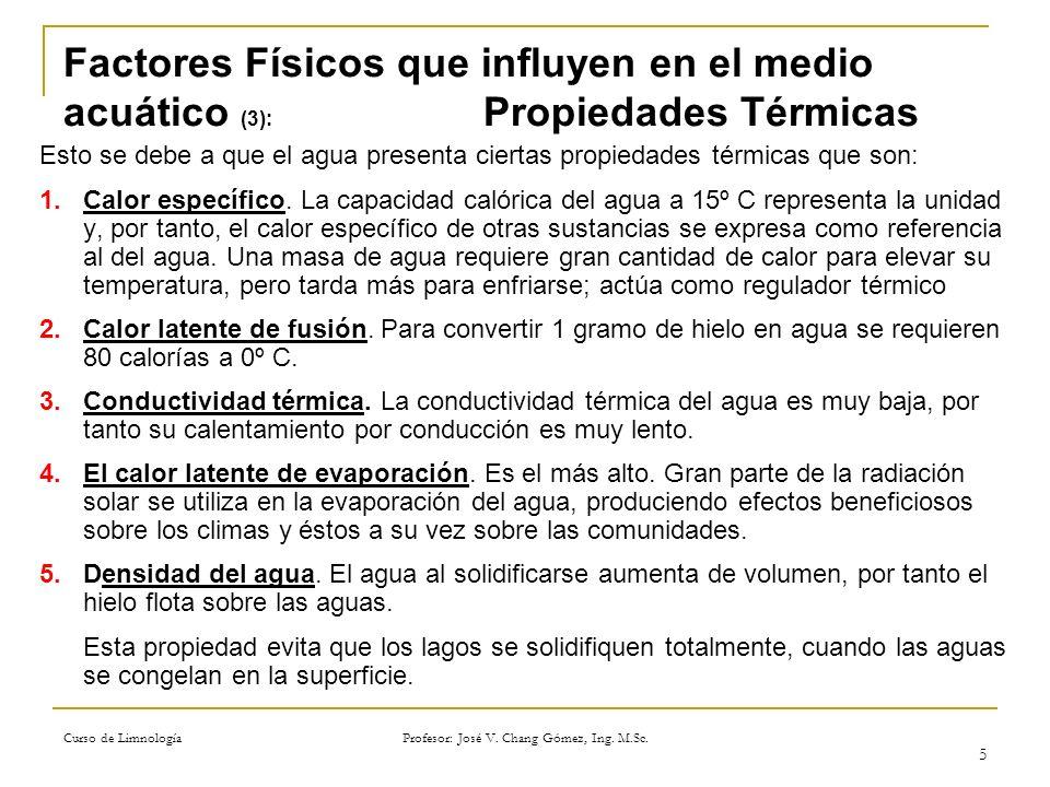 Curso de Limnología Profesor: José V. Chang Gómez, Ing. M.Sc. 5 Factores Físicos que influyen en el medio acuático (3): Propiedades Térmicas Esto se d