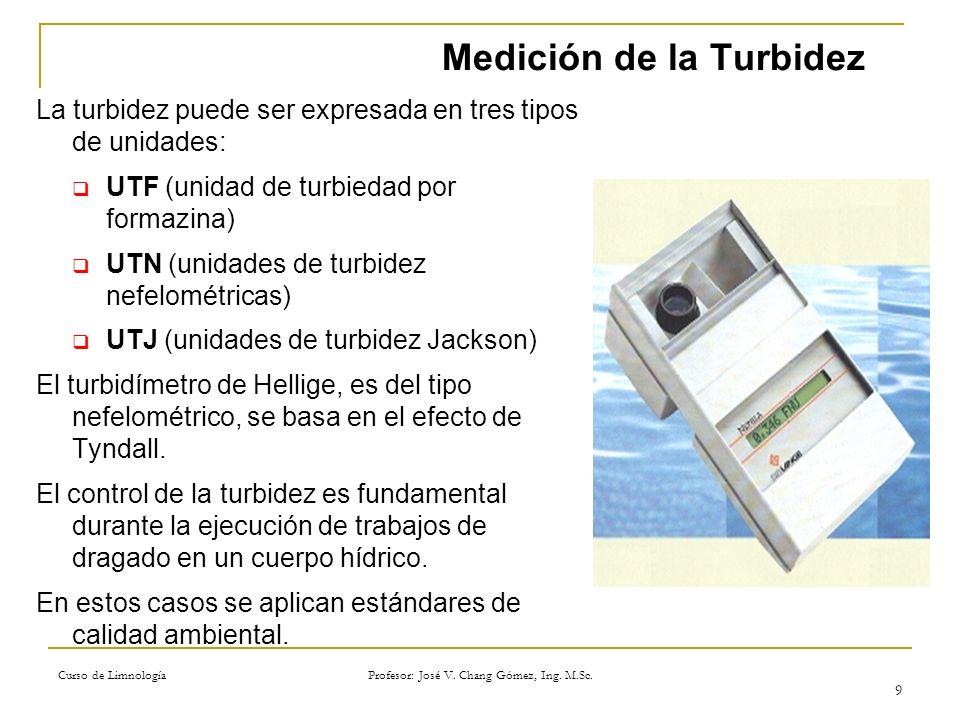 Curso de Limnología Profesor: José V. Chang Gómez, Ing. M.Sc. 9 Medición de la Turbidez La turbidez puede ser expresada en tres tipos de unidades: UTF