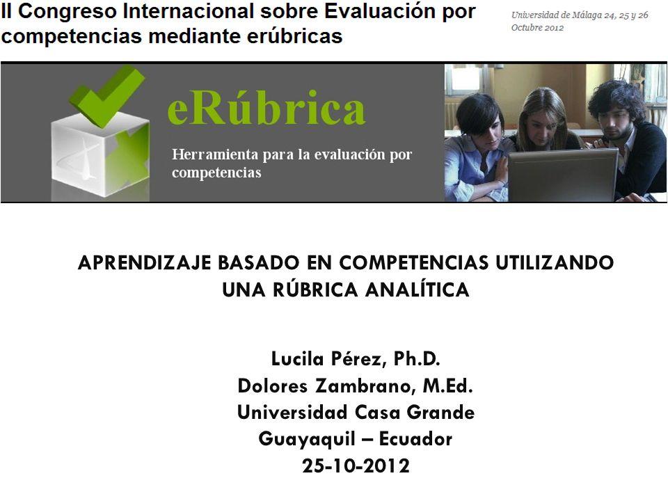 APRENDIZAJE BASADO EN COMPETENCIAS UTILIZANDO UNA RÚBRICA ANALÍTICA Lucila Pérez, Ph.D.