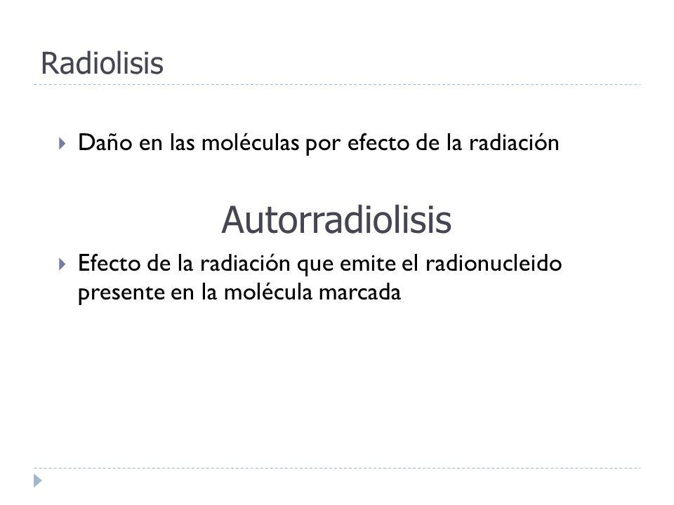 Radiolisis Daño en las moléculas por efecto de la radiación Autorradiolisis Efecto de la radiación que emite el radionucleido presente en la molécula