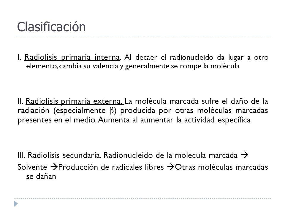 Clasificación I. Radiolisis primaria interna. Al decaer el radionucleido da lugar a otro elemento, cambia su valencia y generalmente se rompe la moléc