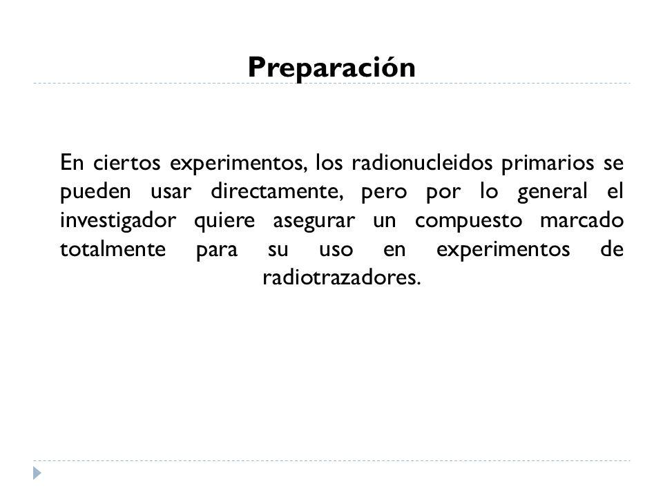 Preparación En ciertos experimentos, los radionucleidos primarios se pueden usar directamente, pero por lo general el investigador quiere asegurar un