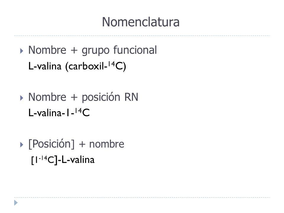 Nomenclatura Nombre + grupo funcional L-valina (carboxil- 14 C) Nombre + posición RN L-valina-1- 14 C [Posición ] + nombre [1 -14 C ]-L-valina