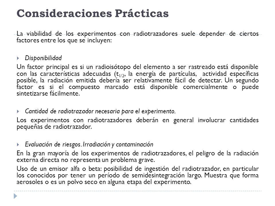 Consideraciones Prácticas La viabilidad de los experimentos con radiotrazadores suele depender de ciertos factores entre los que se incluyen: Disponib