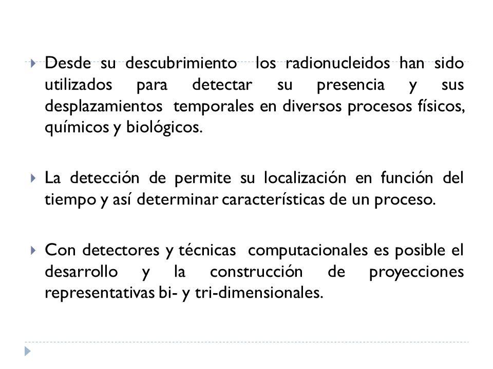 Desde su descubrimiento los radionucleidos han sido utilizados para detectar su presencia y sus desplazamientos temporales en diversos procesos físico