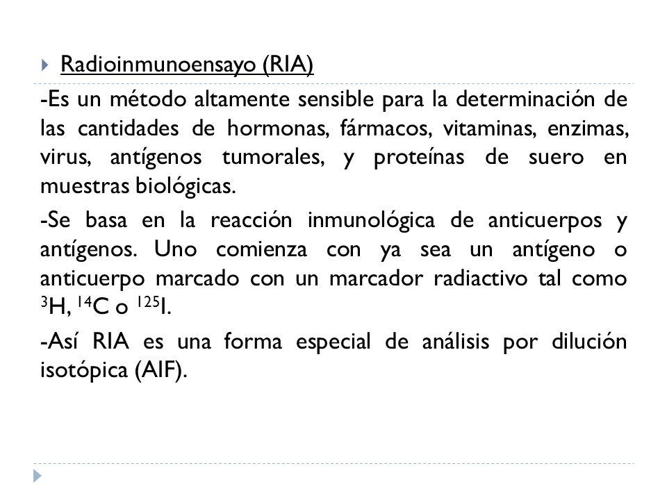 Radioinmunoensayo (RIA) -Es un método altamente sensible para la determinación de las cantidades de hormonas, fármacos, vitaminas, enzimas, virus, ant