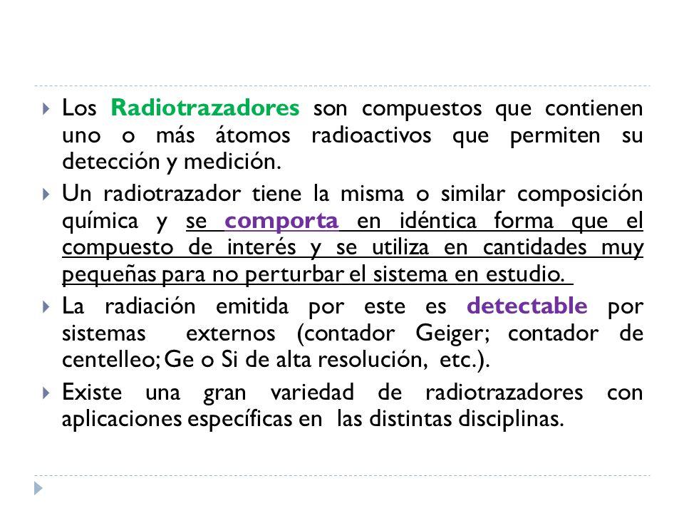 Los Radiotrazadores son compuestos que contienen uno o más átomos radioactivos que permiten su detección y medición. Un radiotrazador tiene la misma o