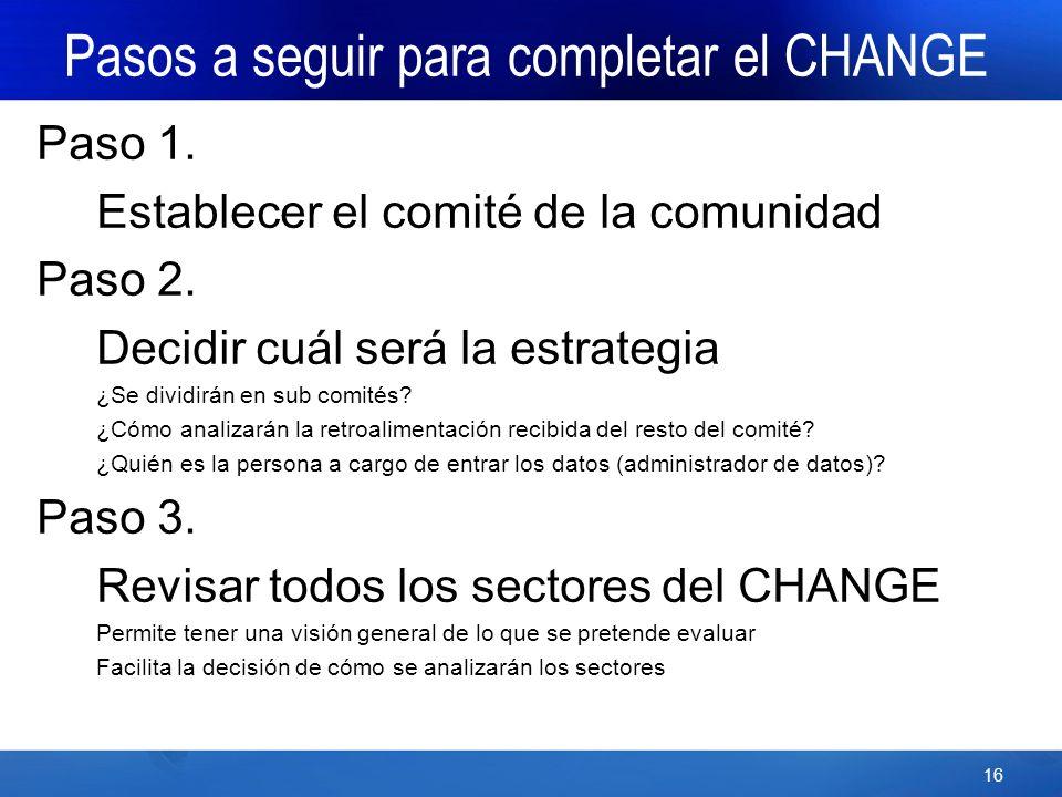 16 Pasos a seguir para completar el CHANGE Paso 1.