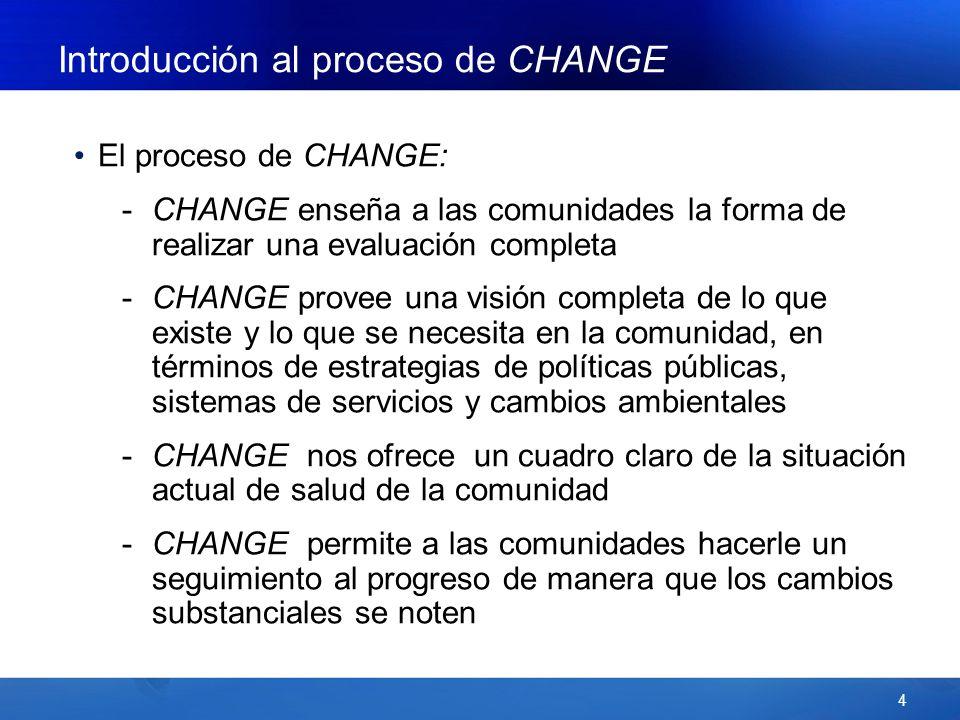 4 Introducción al proceso de CHANGE El proceso de CHANGE: -CHANGE enseña a las comunidades la forma de realizar una evaluación completa -CHANGE provee una visión completa de lo que existe y lo que se necesita en la comunidad, en términos de estrategias de políticas públicas, sistemas de servicios y cambios ambientales -CHANGE nos ofrece un cuadro claro de la situación actual de salud de la comunidad -CHANGE permite a las comunidades hacerle un seguimiento al progreso de manera que los cambios substanciales se noten