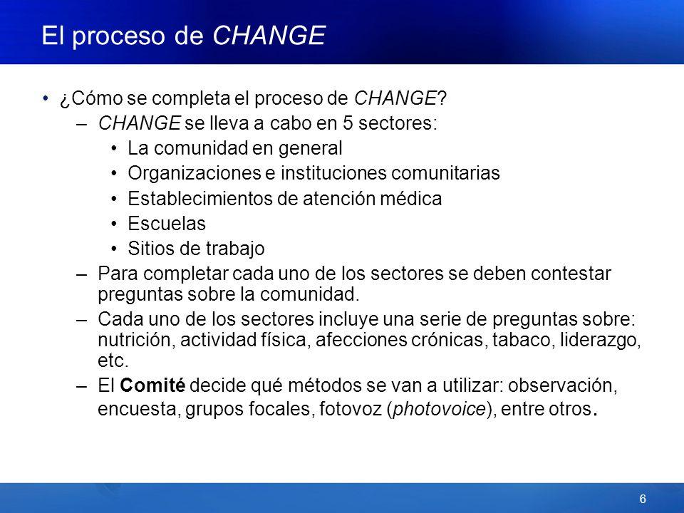 6 El proceso de CHANGE ¿Cómo se completa el proceso de CHANGE.
