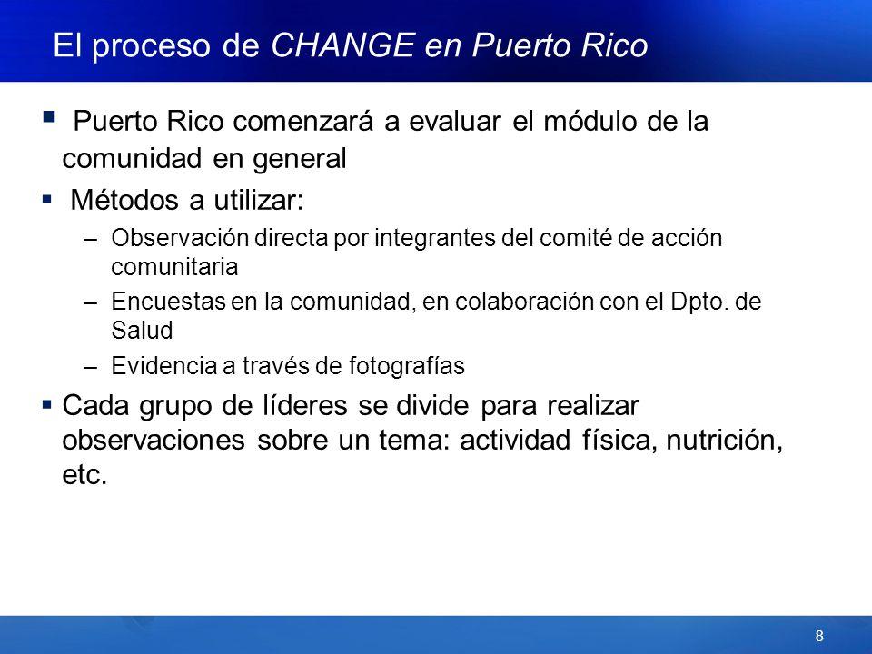 8 Puerto Rico comenzará a evaluar el módulo de la comunidad en general Métodos a utilizar: –Observación directa por integrantes del comité de acción comunitaria –Encuestas en la comunidad, en colaboración con el Dpto.