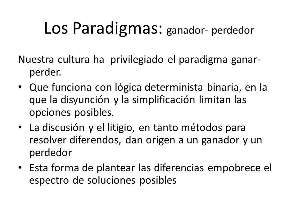 Los Paradigmas: ganador- perdedor Nuestra cultura ha privilegiado el paradigma ganar- perder. Que funciona con lógica determinista binaria, en la que