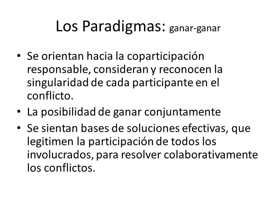 Los Paradigmas: ganar-ganar Se orientan hacia la coparticipación responsable, consideran y reconocen la singularidad de cada participante en el confli