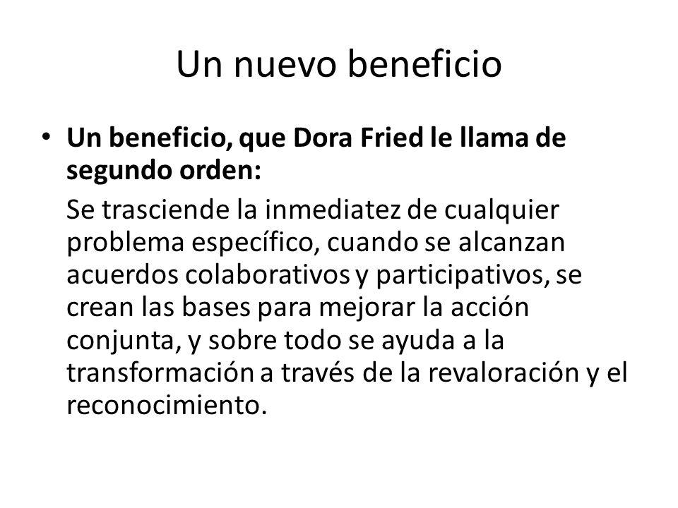 Un nuevo beneficio Un beneficio, que Dora Fried le llama de segundo orden: Se trasciende la inmediatez de cualquier problema específico, cuando se alc