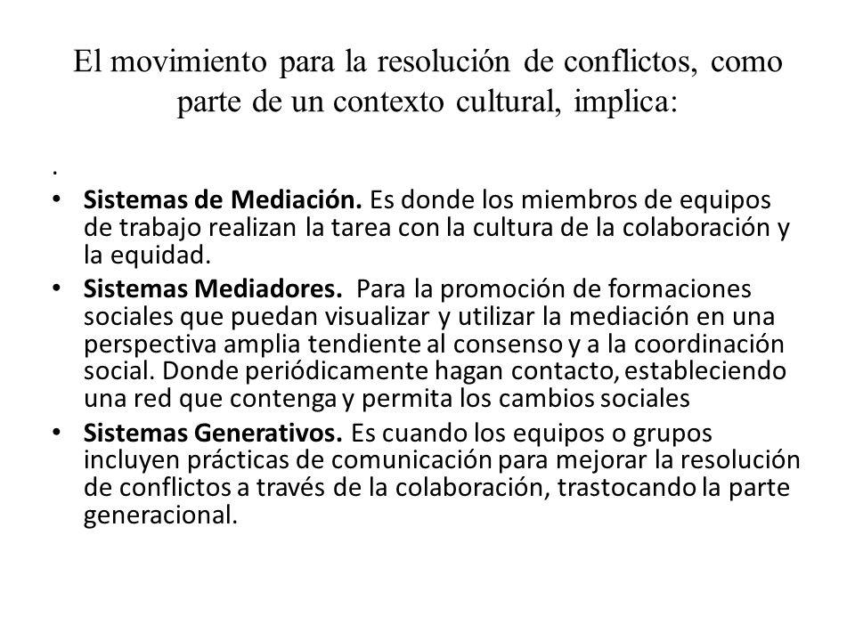 El movimiento para la resolución de conflictos, como parte de un contexto cultural, implica:. Sistemas de Mediación. Es donde los miembros de equipos
