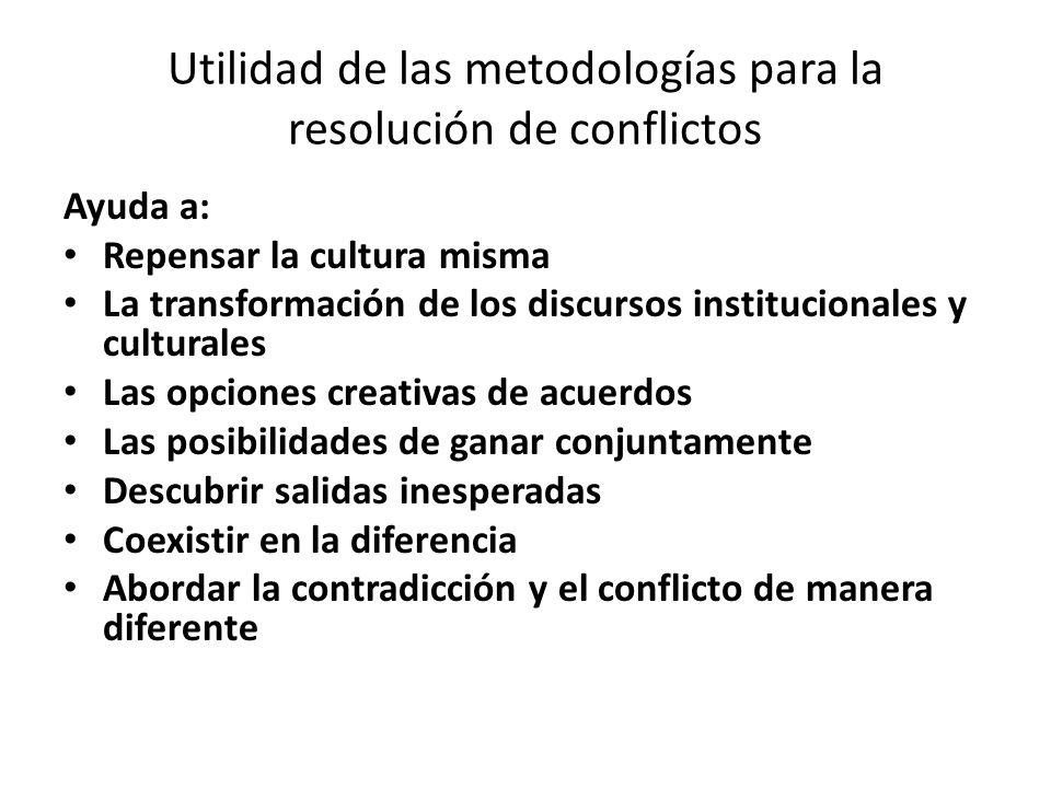 Utilidad de las metodologías para la resolución de conflictos Ayuda a: Repensar la cultura misma La transformación de los discursos institucionales y