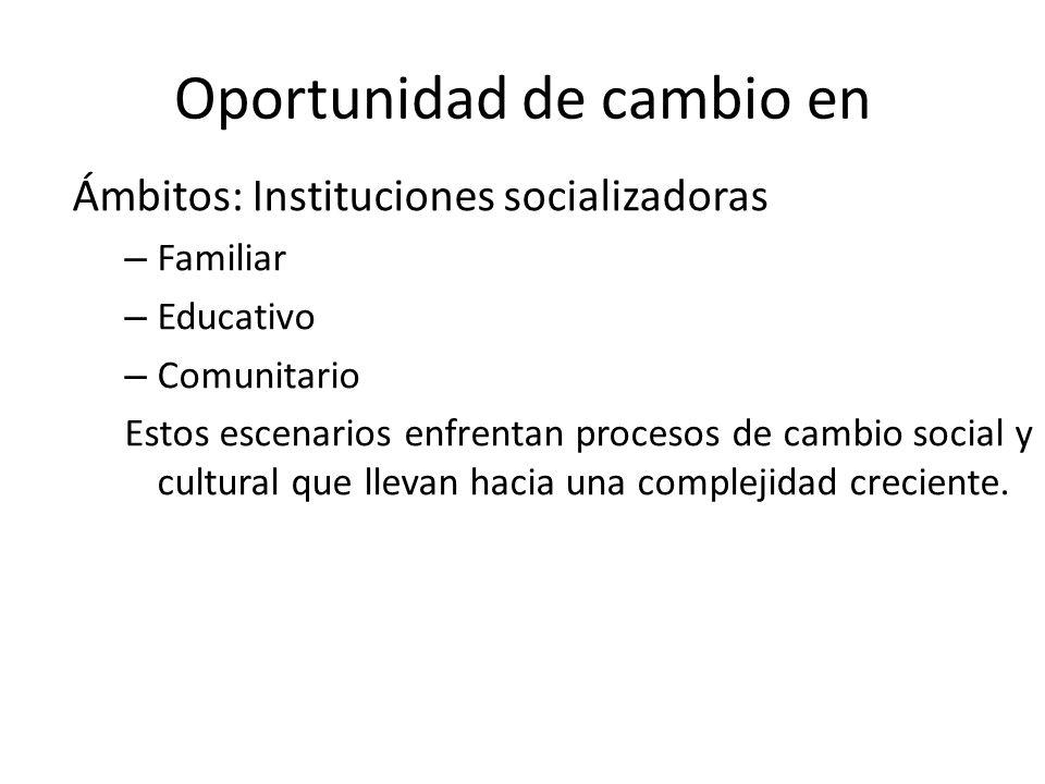 Oportunidad de cambio en Ámbitos: Instituciones socializadoras – Familiar – Educativo – Comunitario Estos escenarios enfrentan procesos de cambio soci