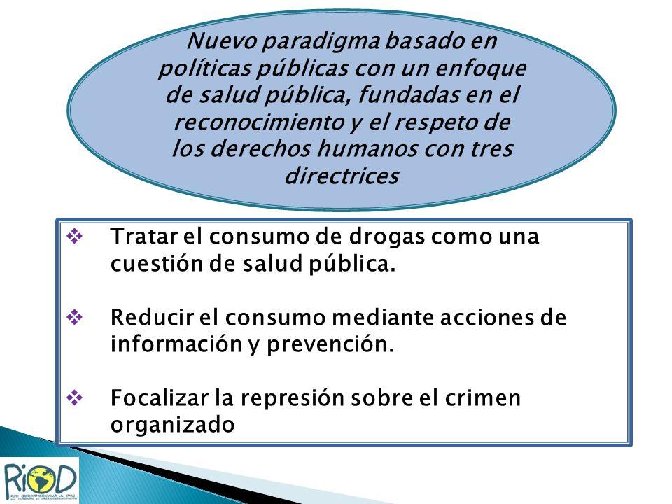 Nuevo paradigma basado en políticas públicas con un enfoque de salud pública, fundadas en el reconocimiento y el respeto de los derechos humanos con tres directrices Tratar el consumo de drogas como una cuestión de salud pública.